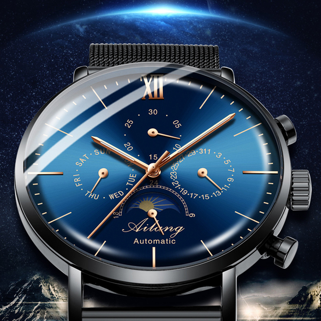 AILANG top brand watch men's waterproof stainless steel belt automatic mechanical watch man steampunk fashion clock Leather 2019
