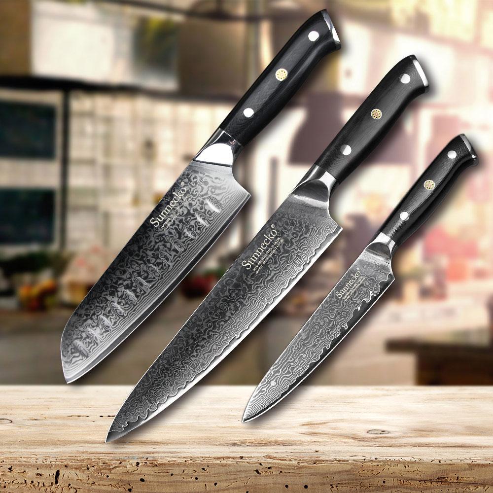 SUNNECKO 3 PCS Cuisine Ensemble De Couteau Santoku Couteau de Chef Japonais VG10 Damas Acier Rasoir de Cuisine Pointus Couteaux G10 Poignée