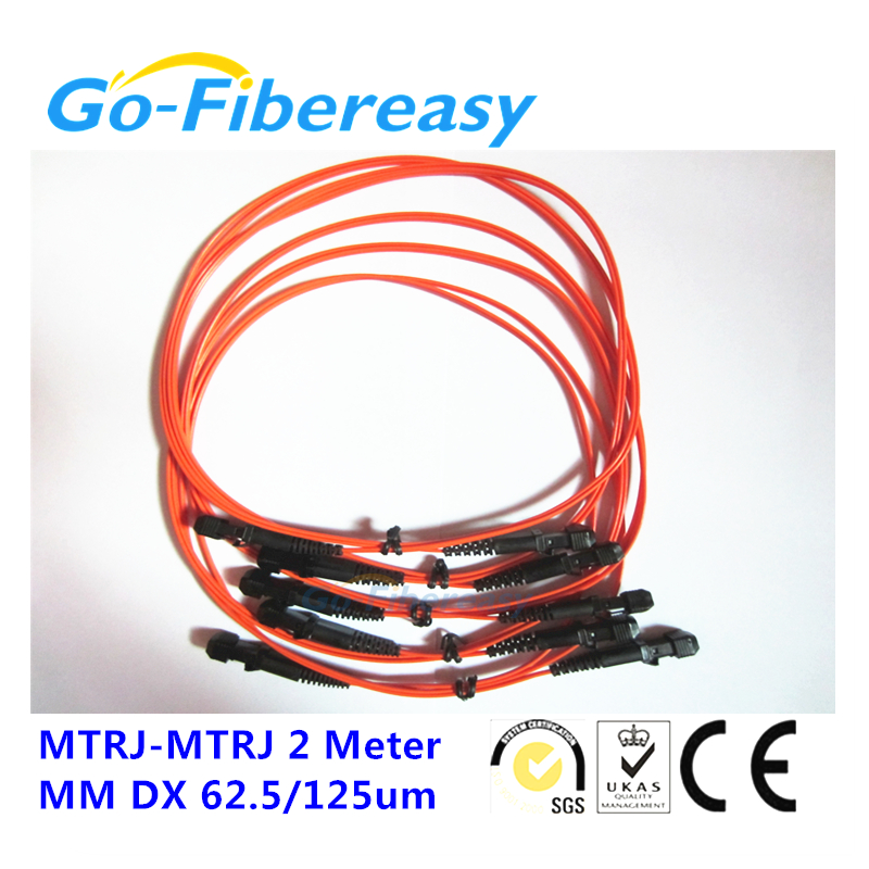 10pcs/lot 2Meters MTRJ-MTRJ Fiber Optic Patch cord OM1 Multimode Duplex fiber cable 2.0mm 62.5/125um