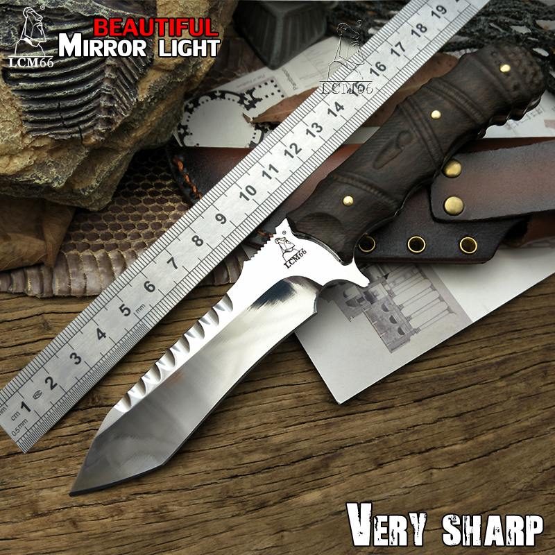 LCM66 Mirror light hunting knife Tactical Small Fixed Knives,Copper Ebony handle Survival Knife,Browning Camping Portable knife edc tactical handle knife portable pocket fold hunting camping knives survival defences for mens multi tool small keychain black