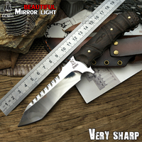 LCM66 Mirror Light Hunting Knife Tactical Small Fixed Knives Copper Ebony Handle Survival Knife Browning Camping