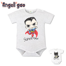 summer models cartoon baby romper superman Romper infant short sleeve triangle package hip baby clothes climbing clothes