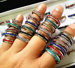 Image 2 - New 36PCs One Row Rhinestone Full Circle Stainless Steel Band Rings Multi Color wholesale lots