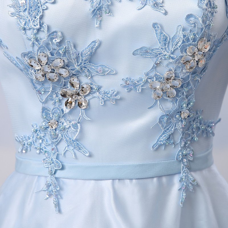 Gardlilac Tulle Applique Light Blue Long Bridesmaid Dress Boat Neck Half  Sleeve Wedding Party Dress-in Bridesmaid Dresses from Weddings   Events on  ... a5a9673fbf36