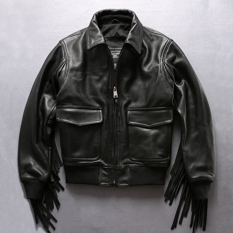 Harley Ангел профессиональная Мотоцикл Байкер куртка Пояса из натуральной кожи куртка Для мужчин Черная куртка кисточкой ВВС полета Курточка