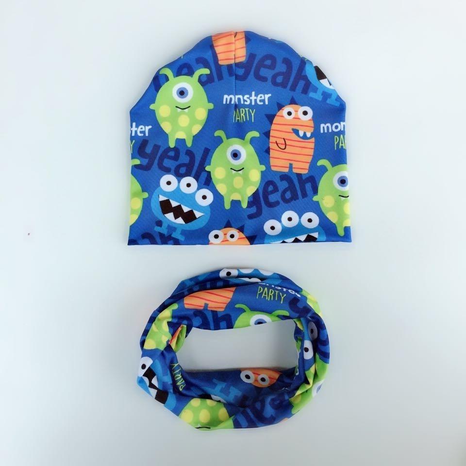 Autumn Crochet Baby Hat Girl Boy Cap Kids Beanie Halloween Infant Hat monster New Children Collar Scarf baby cap children set