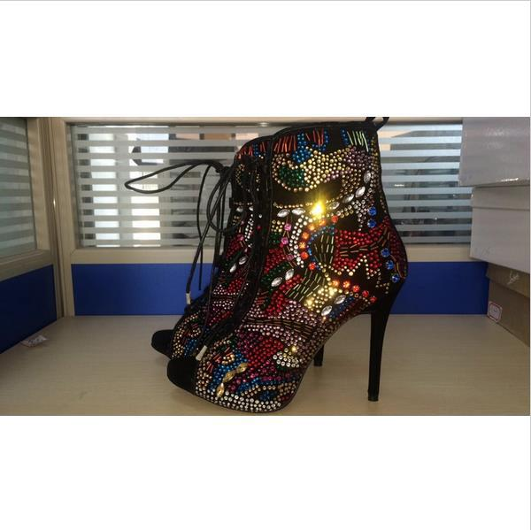 Fashion Women Boots High Heels Ankle Boots Multi Colored Rhinestone Lace Up  Summer Style Women Boots Peep Toe Botas Femininas-in Ankle Boots from Shoes  on ... 8c096dca9496