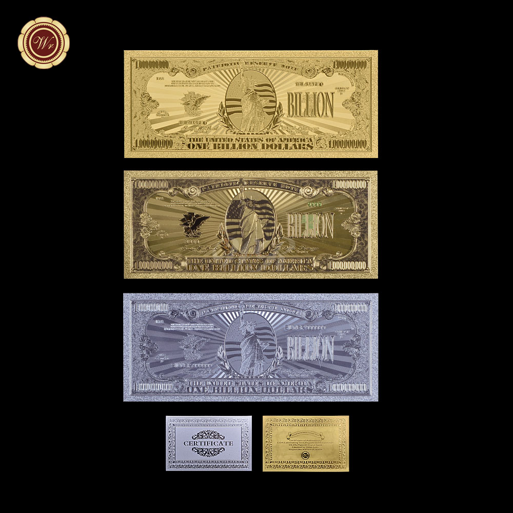 Us banknote gold silver colored 3pcslot with certificate 1 32 item set models of usd dollars gold and silver banknotes to mix and combination for your choose 1betcityfo Gallery