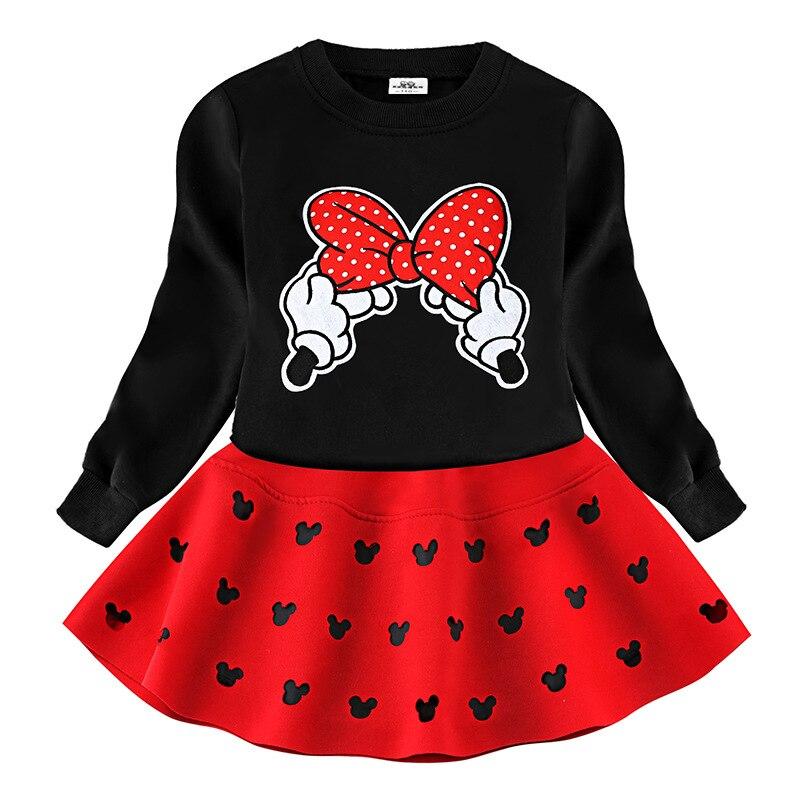 d3ddcbc60 Niñas Minnie Bowknot ropa conjunto niños bebés niñas primavera trajes ropa  de manga larga de ...