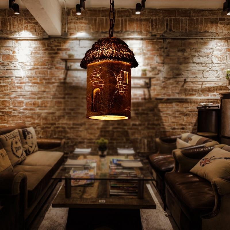 Restaurant meal hanging pendant light simple European continental retro cafe bar single head creative resin pendant lamp ya72912