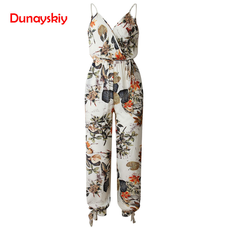 V Neck Sexy Bodysuits Women With Belt Body Femme Rompers Feminino Floral Printed Overalls Print Spring Summer   Jumpsuit