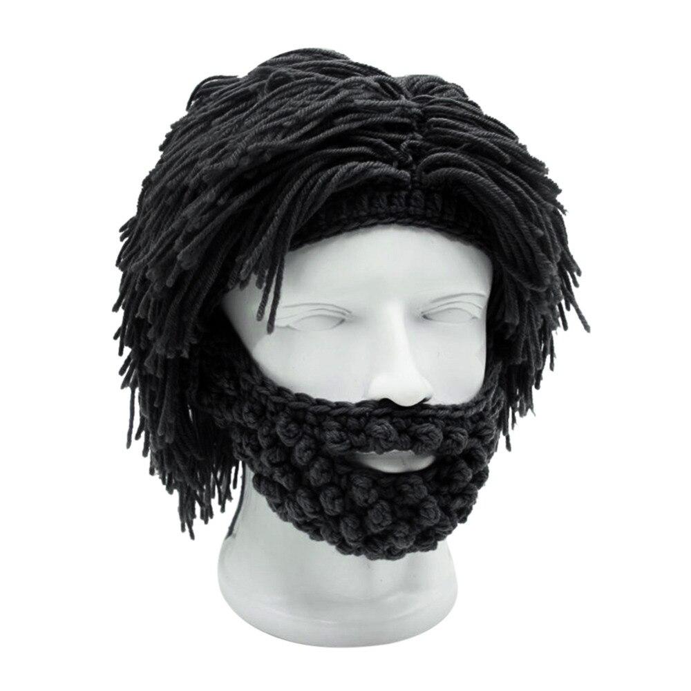 Funny Hat Hip Hop Beard Wig Pattern Cap Knitted Men Winter Crochet