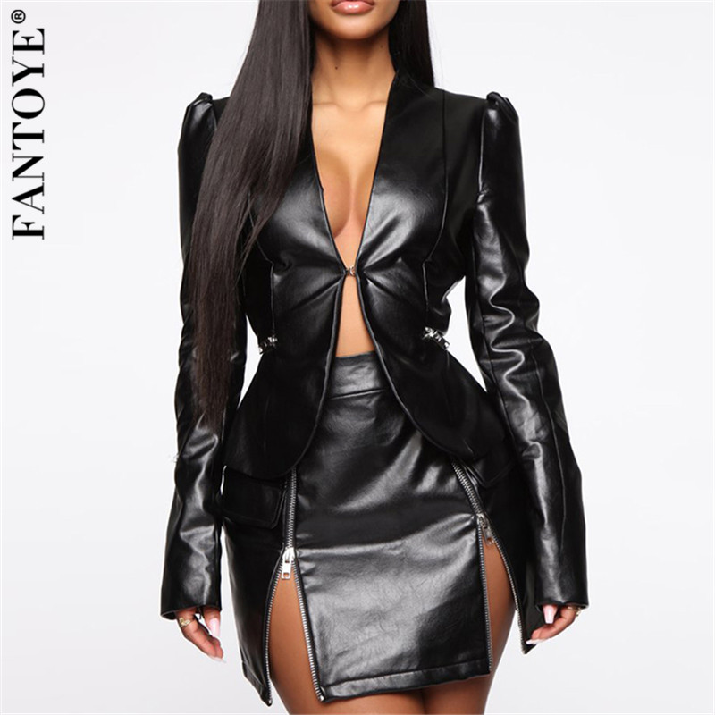 Fantoye Autumn Women PU Two Piece Set Dress For Women Sexy Top And Skirt Suit Dress Lady V Neck Set Outfits Suit Outerwear Dress