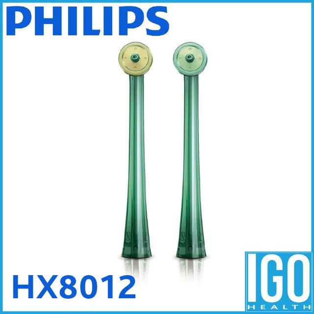 Philips véritable brosse à dents HX8012 Airfloss buses de rechange 2 pièces pack vert pour nettoyeur interdentaire HX8381