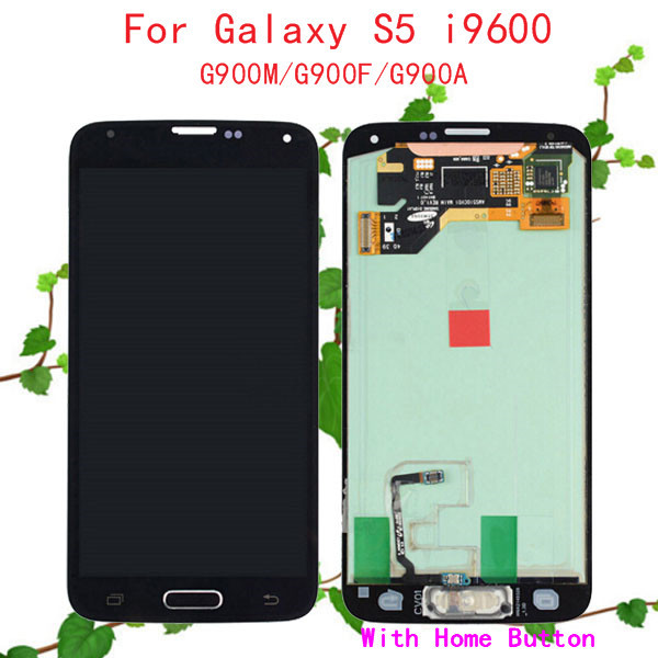 100% Warranty New for Samsung Galaxy S5 LCD Display Touch Screen Digitizer SM-G900M SM-G900F G900A LCD Complete with Home Button