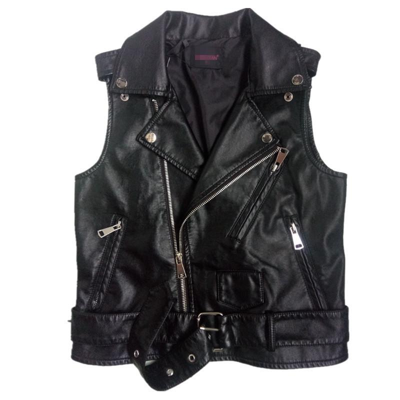 Plus Size Black Sleeveless Pu Women   Leather   Jackets Winter Jacket Pu Belt Veste Motorcycle Jacket Waistcoat Vest Rivet Vests