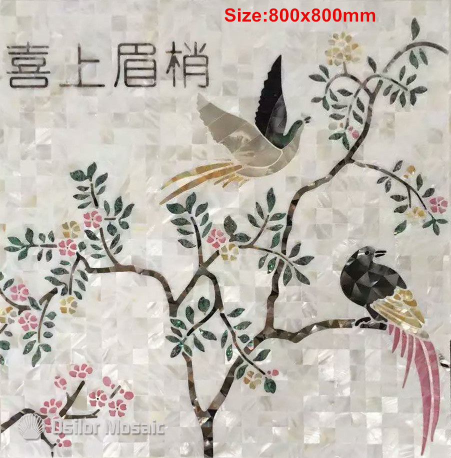 Customized handcrafted mosaic art mother of pearl mosaic tile art murals for interior house decoration flower and bird pattern art of war