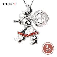 CLUCI 3 шт серебро 925 Санта Клаус кулон в форме женщины 925 стерлингового серебра Циркон желаю жемчуга медальон подарок на Рождество SC182SB