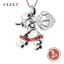 CLUCI 3pcs Silver 925 Santa Claus Shaped Pendant Women 925 Sterling Silver Zircon Wish Pearl Locket Gift for Christmas SC182SB