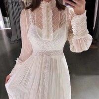 White Runway Dress Designer 2019 High Quality Women Sexy See Through Long Dresses