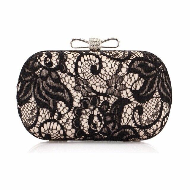 Women Evening Bag Y Black Lace Lady Handbag Shoulder Day Clutch Purse Bowknot Wedding