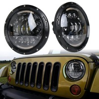 48W Motorcycle Headlamp 7 Inch Round LED Headlight Amber Turn Signal Light With White DRL For