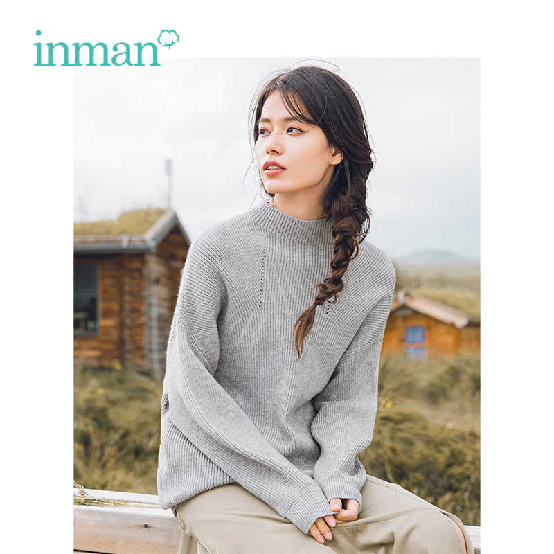 INMAN Winter New Arrival Female High Collar Fit Slim Waist Elegant Pullover Women Sweater