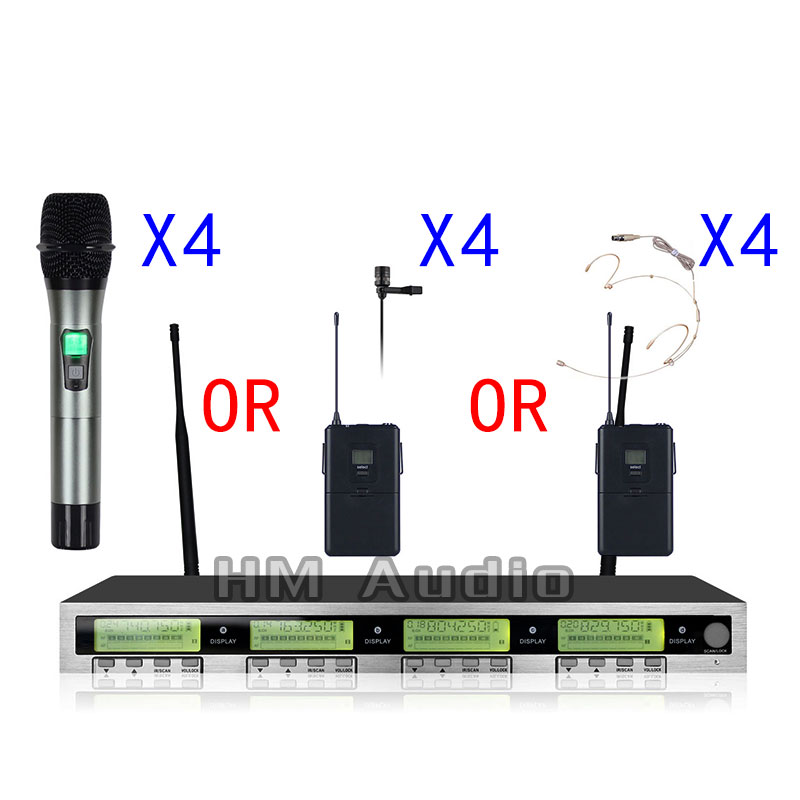 New High Quality Professional AWT400 4 channel Handheld Wireless Microphone professional lavalier clip microphone headset x4 4 channel wireless microphone system handheld desk meeting bodypack lavalier for your choice