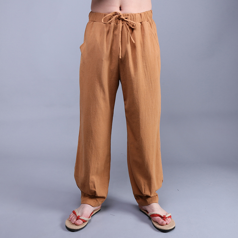 567c35ad89e Summer Chinese Style Men s Solid Color Casual Linen Pants Male Plus Size  Loose Bloomers Linen Water Wash Trousers-in Wide Leg Pants from Men s  Clothing on ...
