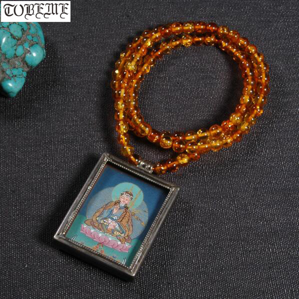 Fait à la main 925 argent Padmasambhava bouddha pendentif collier tibétain Tangka pendentif collier bouddhiste Padmasambhava amulette