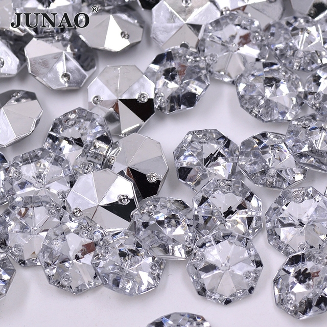 JUNAO 14mm Clear White Crystals Sewing Poinback Rhinestones Curtain Crystal  Beads Acrylic Gems Sew Crystal Stones for Home Decor 0c23a97da987