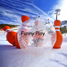 inflatable bowling bottle pin with zorb ball( human hamster ball), 2 M hight bumper bubble ball for bowling outdoor game(China)