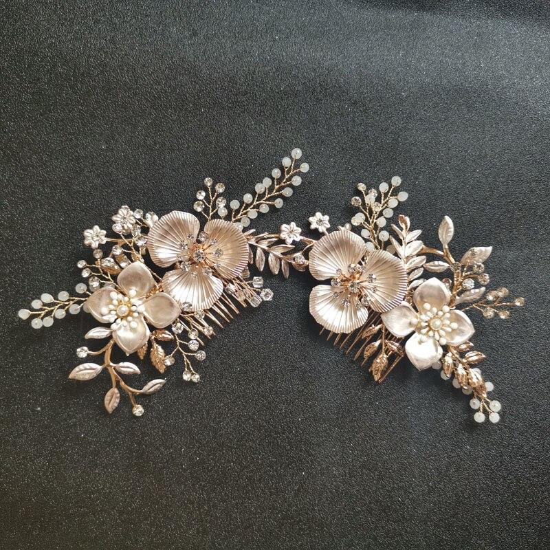 SLBRIDAL Gold Clear Crystal Rhinestones Pearls Flower Wedding Hair Comb Bridal Headpieces Accessories Women Female Jewelry
