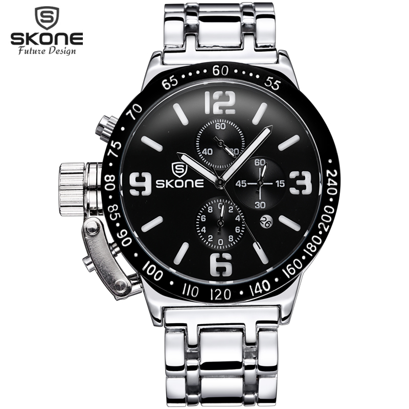 SKONE Steel Mens Watches Top Brand Luxury Stopwatch 6 Hand 24 Hours Chronograph Military Sport Watch Clock Men relogio masculino skone relogio 9385