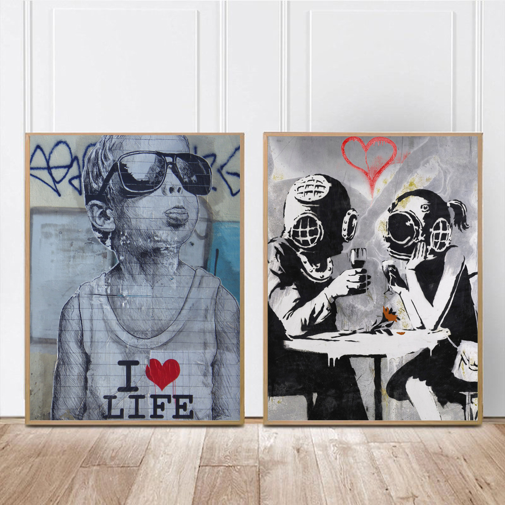 Banksy Graffiti Canvas Art Prints Painting Wall Art Poster Pop Decoration Pictures Love Life Wall Art Decorative Freeship Gifts