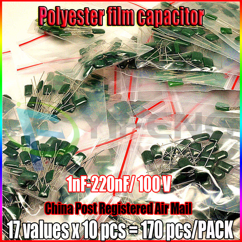 New! 17value 170pcs Polyester Capacitors Pack. 100V 1nF-220nF Assortment Kit Set