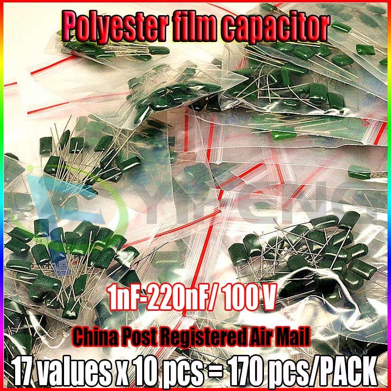 New! 17value 170pcs Polyester Capacitors Pack. 100V 1nF-220nF Assortment Kit Set