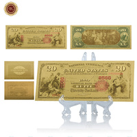WR American Currency Bill Note 24k Gold Plated 20 Dollar Colorful Gold Banknote Metal Crafts Souvenir Gift with Desk Decor Stand