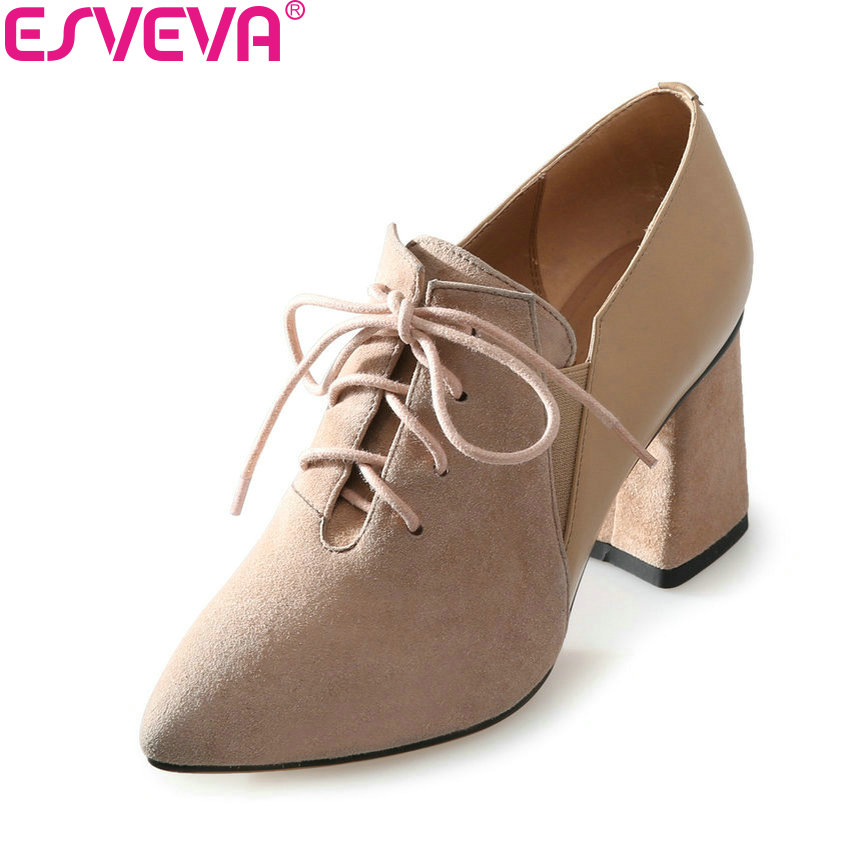 ESVEVA 2018 Women Pumps Out Door Elegant Black Pointed Toe Kid Suede PU Square High Heel Fashion Lace Up Ladies Shoes Size 34-39 esveva 2017 new pointed toe pu women pumps lace up british style fashion shoes women spring square high heel pumps size 34 39