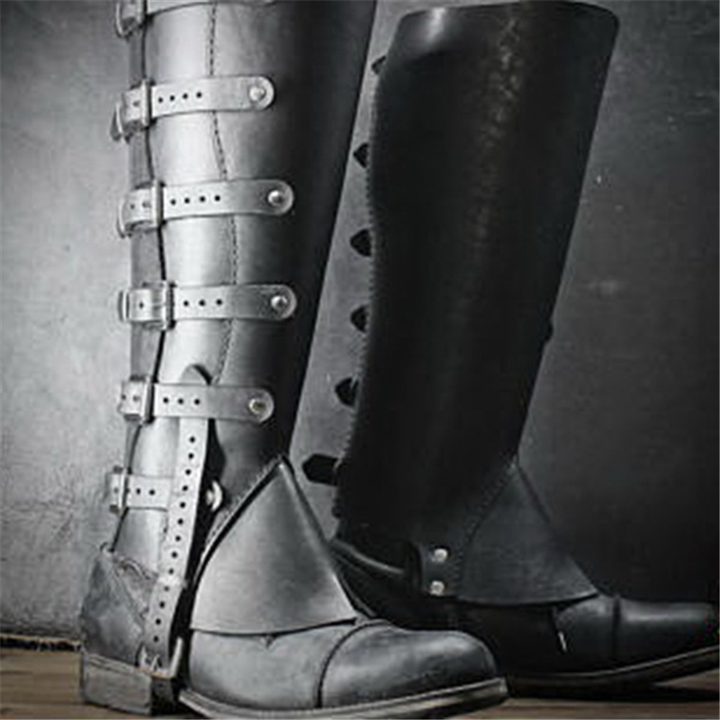 Medieval Retro Female Warrior Cosplay Soldier Knight Armor Shoe Cover Ladies Armor Long Boots COS Foot Cover 3