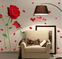 2017 new Removable Red Rose Life Is The Flower Quote Wall Sticker Mural Decal Home Room Art Decor DIY Romantic Delightful 6055