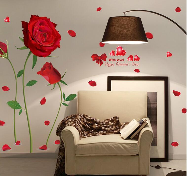 2017 nueva Extraíble Rosa Roja Vida Es La Flor de Pared Cita mural sticker decal