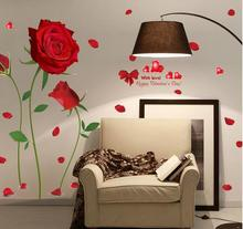 new Removable Red Rose Life Is The Flower Quote Wall Sticker Mural Decal Home Room Art