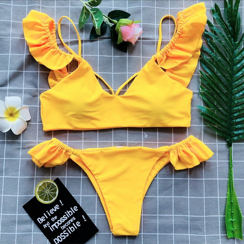 Sexy Bow Bikini Set Push Up Swimwear Swimsuit Women Bandages Beach Biquini Pareo Bath 2018 Monokini Bathing Suit Yellow Black