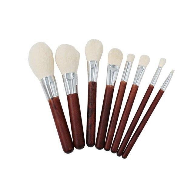 Voberry 8 piezas herramientas de maquillaje de belleza de imitación de lana de imitación de caoba juego de brochas de maquillaje soporte de brochas M301231