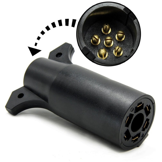 New 7 Way Flat Pin to 6 Way Round Pin Trailer Wiring Adapter Plug ...