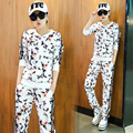 Europe Station 2017 Tracksuit women autumn new printing round neck sweater female fashion leisure Floral 2 piece set