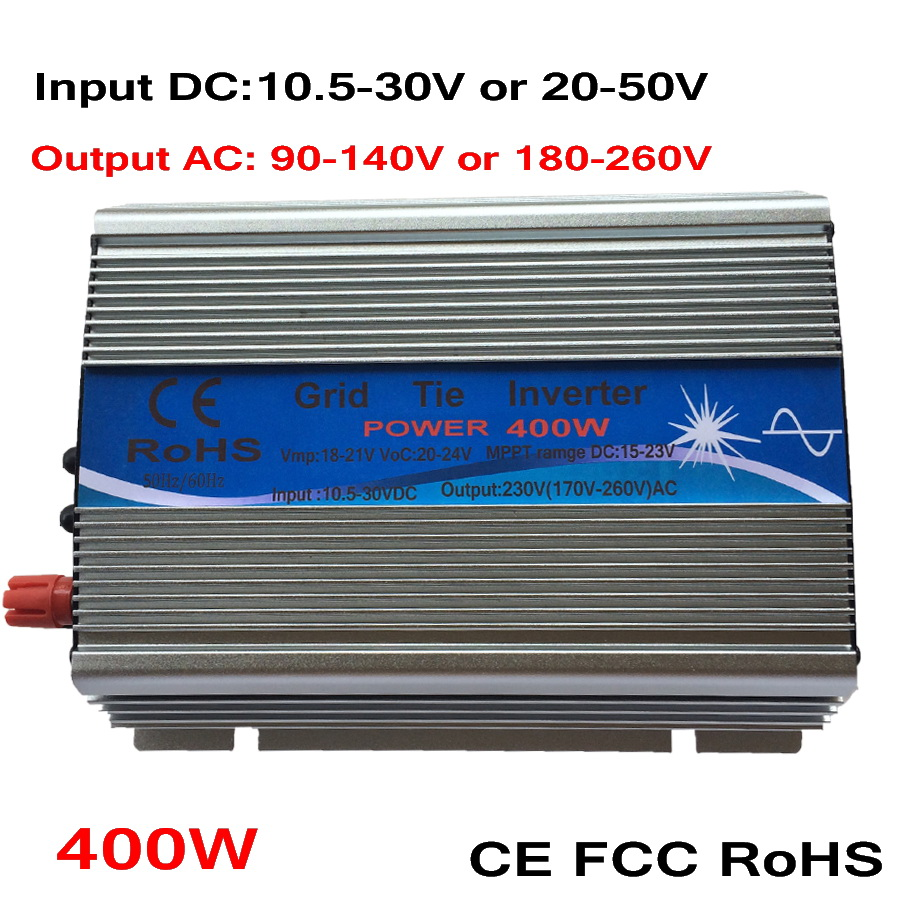 400W  Grid Tie Micro Inverter, 10.5-30V 20-50 DC to AC 110V 220V Pure Sine Wave Inverter Suitable for PV Module or Wind Turbine
