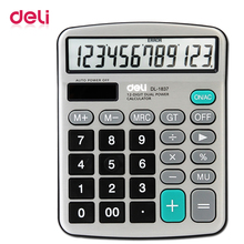 Deli 1pcs 12 digits Electronic calculator office financial real talking pocket solar calculator with battery dual power gift key bench calculator 5500 calculator solar dual power metal surface office electronic calculators for financeira school