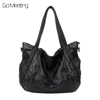 Go Meetting Women Shoulder Bags Fashion Woman Handbags Oil Wax Leather Large Capacity Tote Bag Casual